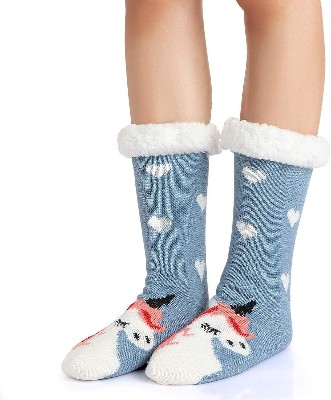 Tacobear Damen Kuschelsocken Haussocken Bettscoken H/üttensocken Wintersocken Warme Dicke Socken mit Antirutschsohle f/ür Damen und M/ädchen