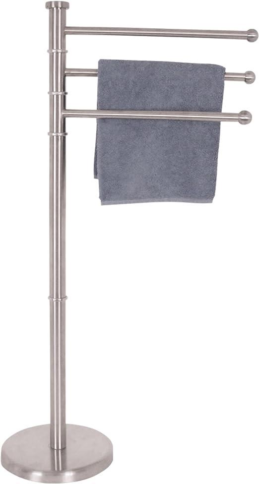 MSV Handtuchständer mit 3 beweglichen Stangen Handtuchhalter in Edelstahl silber