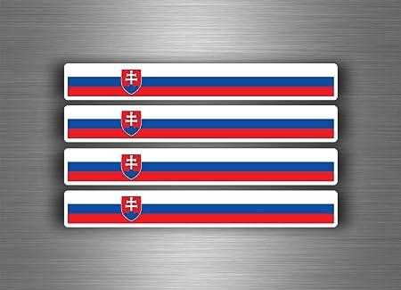 Akachafactory 4 X Selbstklebend Sticker Auto Moto Stripes Flagge Tuning Slowakei Auto