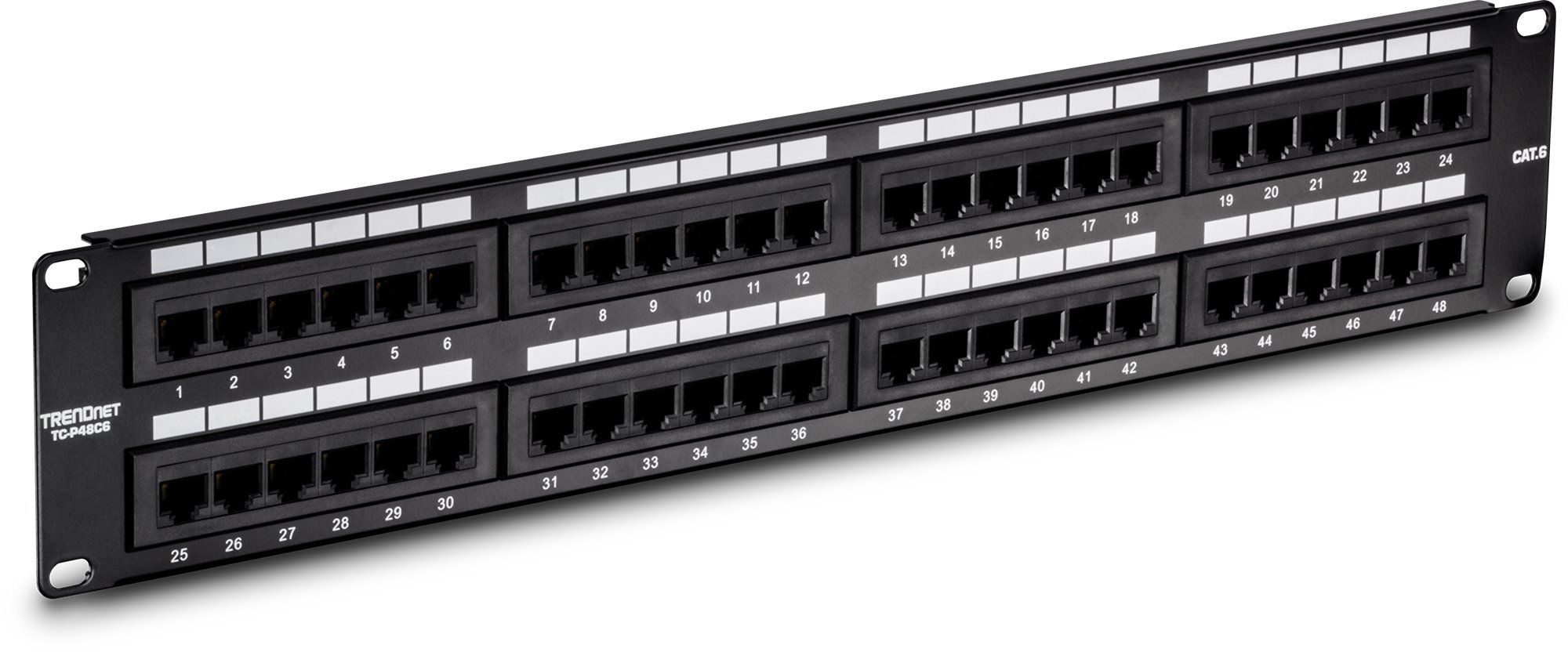 TRENDnet 48-Port Cat6 Unshielded Wallmount or Rackmount Patch Panel, Compatible with Cat 3/4/5/5e/6 Cabling, TC-P48C6