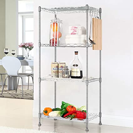 Homdox 4 Shelf Unit Kitchen Wire Shelving Rack Commercial Grade Adjustable Storage Shelves Organizer Silver