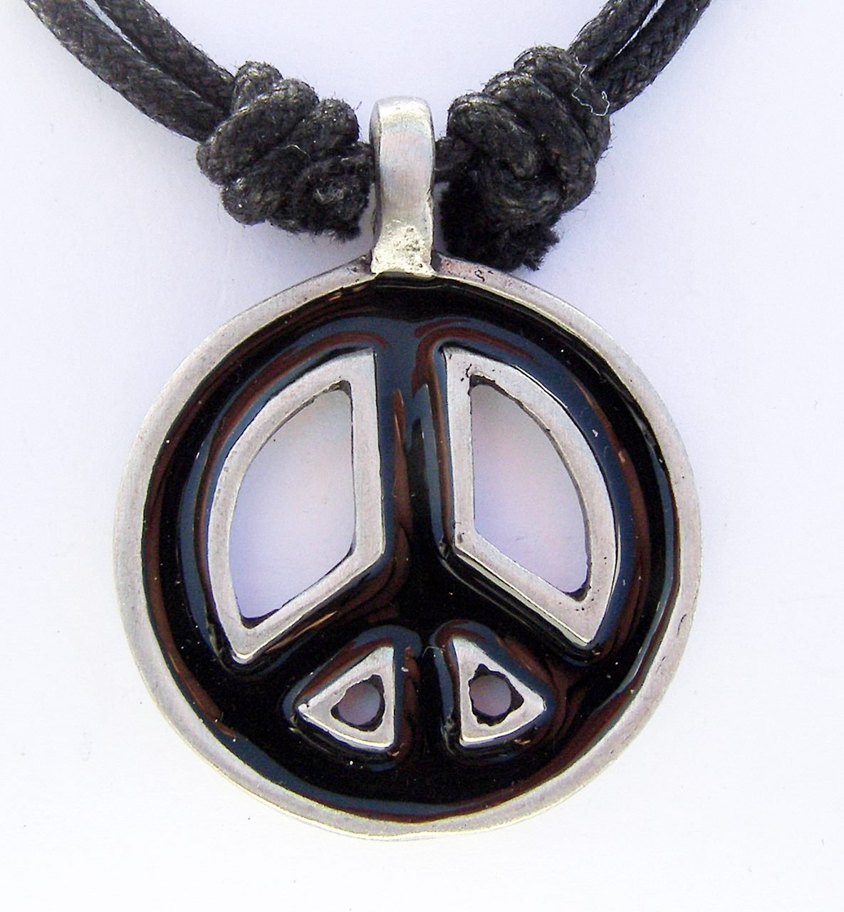 Cornwall Art Prints Peace Sign CND Pendant pewter on cord necklace Black Enamel 3.5cm
