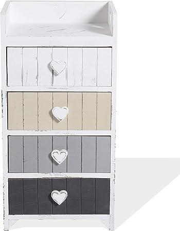 4 Cassetti RE6483 - Art Misure: 79 x 30 x 24 per Camera Bagno Rebecca Mobili Comodino Shabby Cassettiera Bianca Beige Grigio HxLxP Legno Paulonia