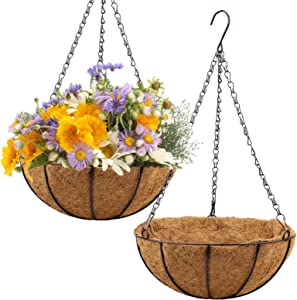 2 Pack Metal Hanging Planter Basket with Coco Coir Liner, 12 Inch Round Wire Plant Holder with Chain Hanging Watering Flower Pot for Outdoor Patio Garden Porch Decoration