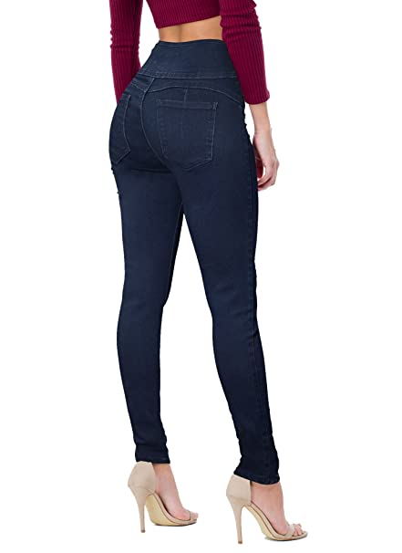 Women Butt Lift 3 Button High Wide Waist Stretch Denim Skinny Jeans Capri Bermuda Short best high-waisted jeans