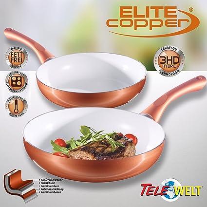 4piezas de Ceraflon cerámica de cobre Juego de sartenes Elite Copper