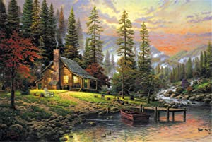 Queenie Premium 1000 Piece Autumn Forest River Landscape Warm Oil Painting Jigsaw Wooden Puzzles Toys for Adults Family Wall Decoration