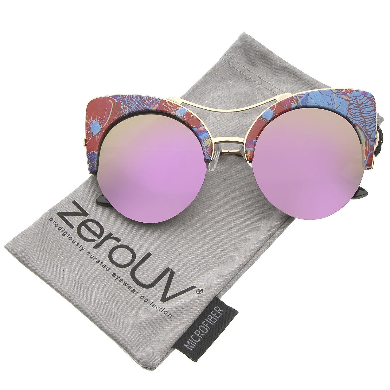1fa8838910 Amazon.com  Women s Flat Lens Floral Print Semi-Rimless Round Cat Eye  Sunglasses 52mm (Blue-Orange-Floral Magenta Mirror)  Clothing