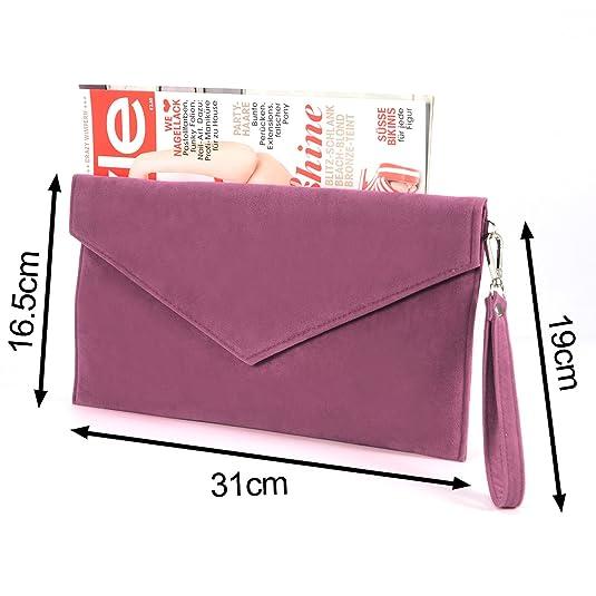 Anladia Large Faux Suede Envelope Clutch W/ Wrist Strap Women Hand Carry Daily Purse Chain Strap: Handbags: Amazon.com
