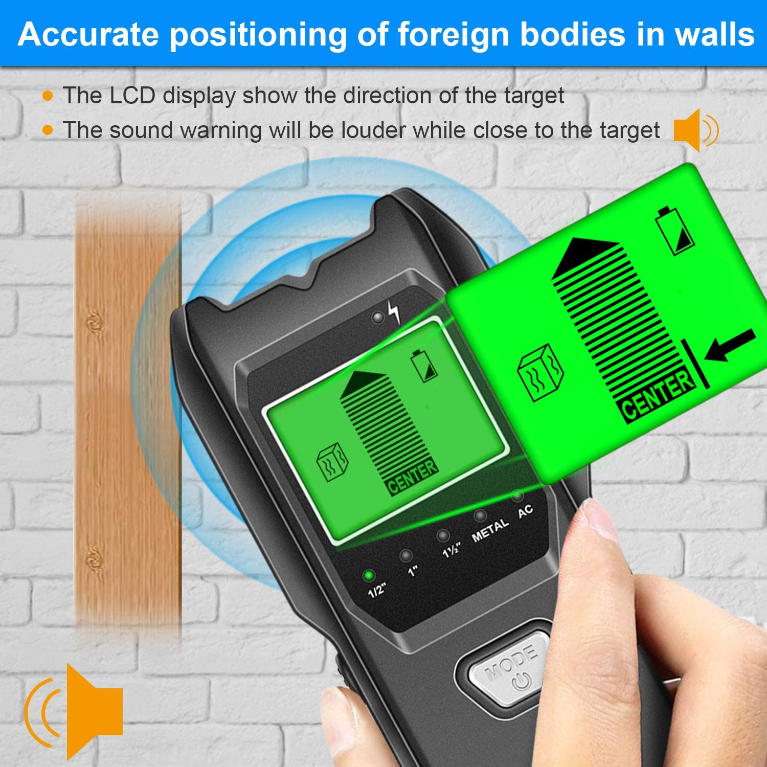 Wall Scanner with Battery for the Center /& Edge of Metal Pipe Detector for Walls Jurgen K 5 in 1 Multi-function Upgraded Smart Stud Sensor Studs and AC Wire Stud Finder