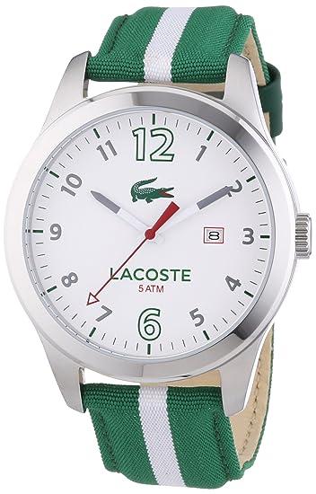 Lacoste Auckland - Reloj de cuarzo para hombre, con correa de nailon, color verde