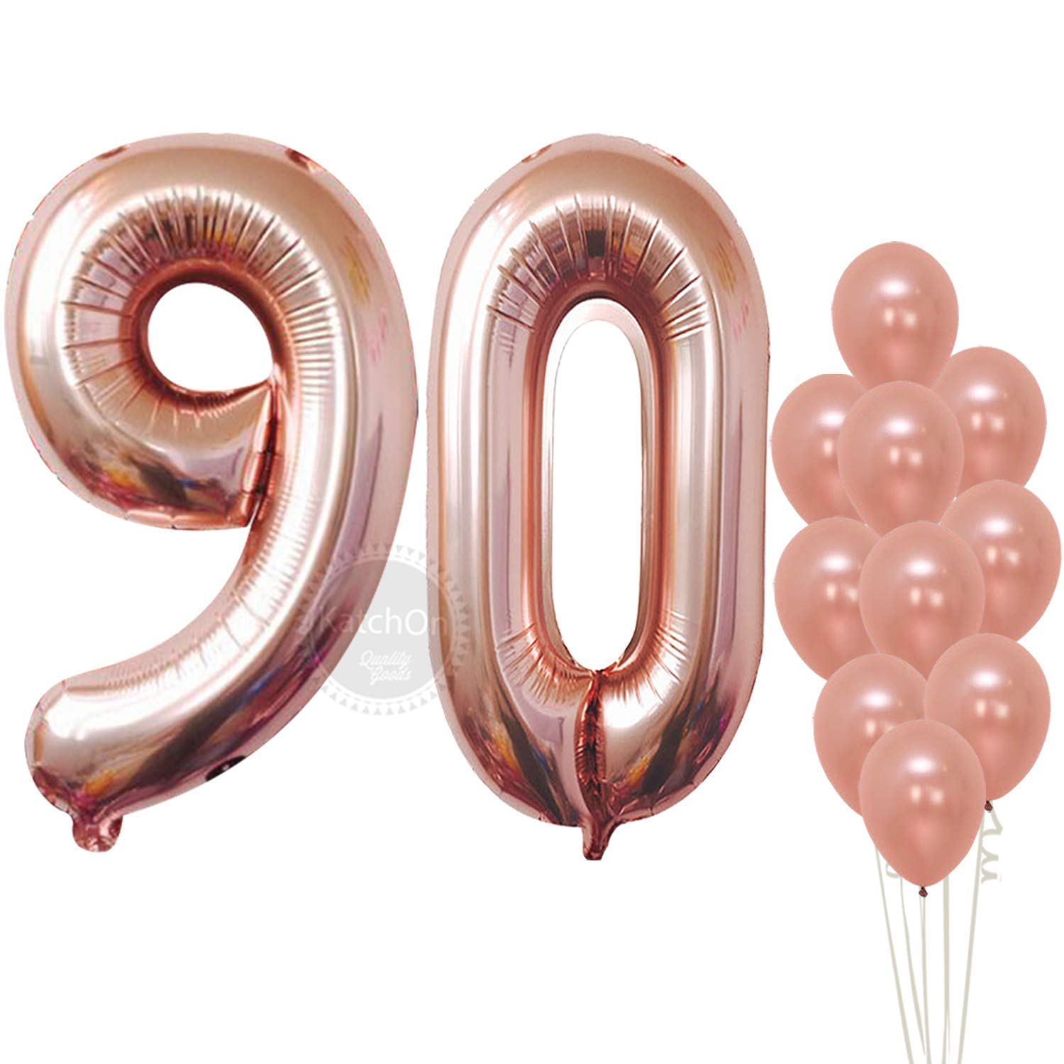 Rose Gold 80 Number Balloons - Large, 8 and 0 Mylar Rose Gold Balloons, 40 Inch | Extra Pack of 10 Latex Baloons, 12 Inch | Great 80th Birthday Party Decorations| 80 Year Old Rose Gold Party Supplies KatchOn