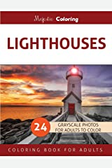 Lighthouses: Grayscale Photo Coloring Book for Adults Paperback