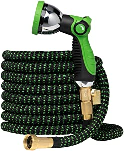 Garden Hose Flexible Expandable Hoses - by GreenFriendlyHome, Expanding Water Hose Retractable Strongest Hose Fabric + Multi Latex Core | Solid Brass Fittings Metal Nozzle (75 FT, Black Green)