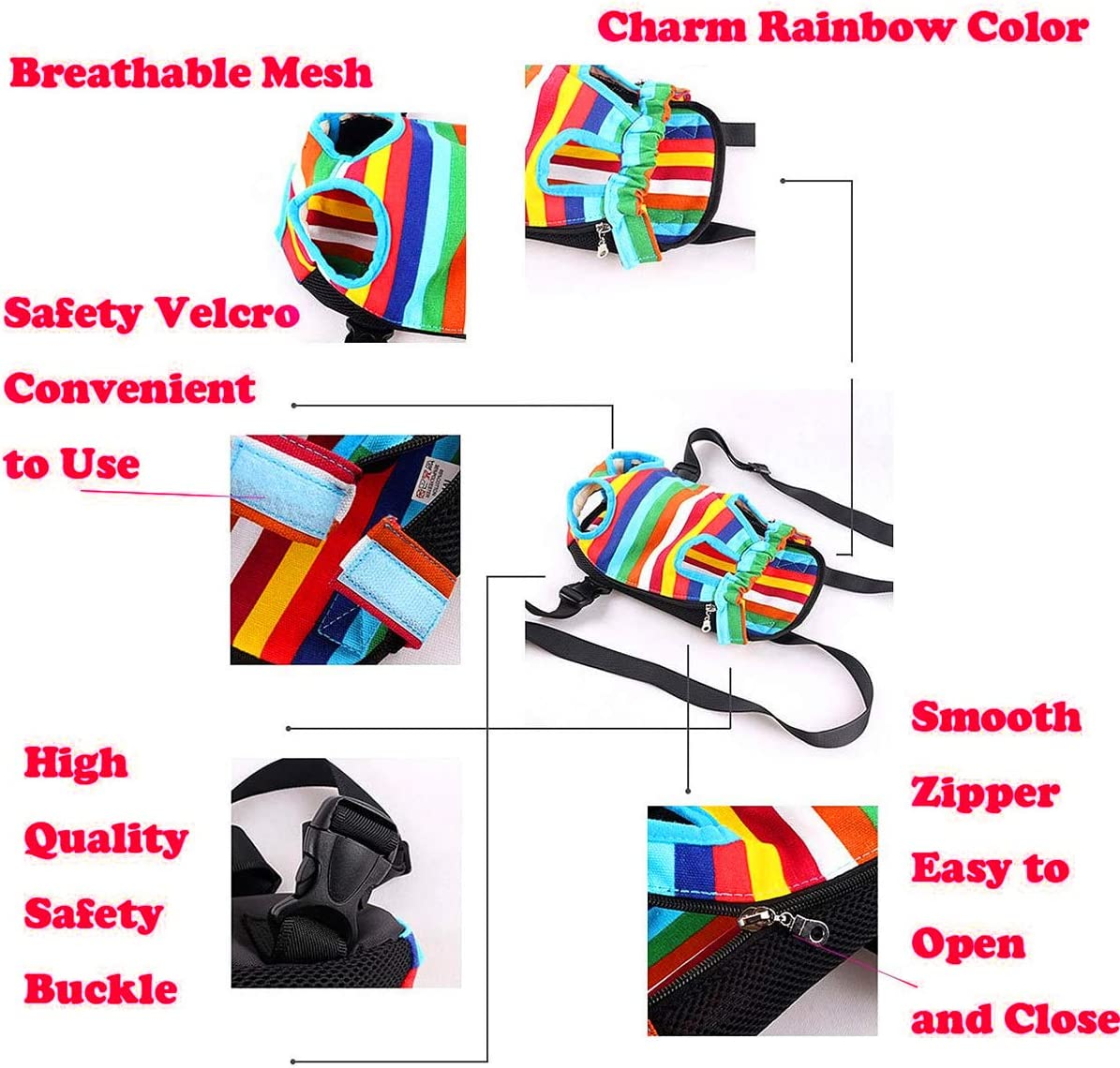 abcGoodefg/® Breathable Legs Out Front Style Pet Dog Carrier Backpack Net Nylon Chest Pack Puppy Cat Dog Carrier Colorful Stripes S, Rainbow