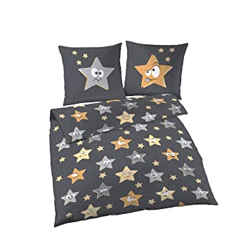 Dobnig Kinderbettwäsche 135x200 2teilig Bettwäsche Sterne Grau