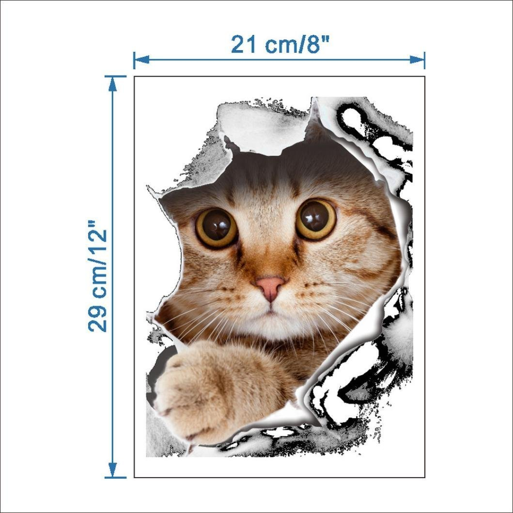 Cat Toilet Seat Wall Sticker, Oksale 8.3'' x 11.4'', Bathroom Removable PVC Wallpaper Home Decor Applique Papers Mural by Oksale® (Image #4)