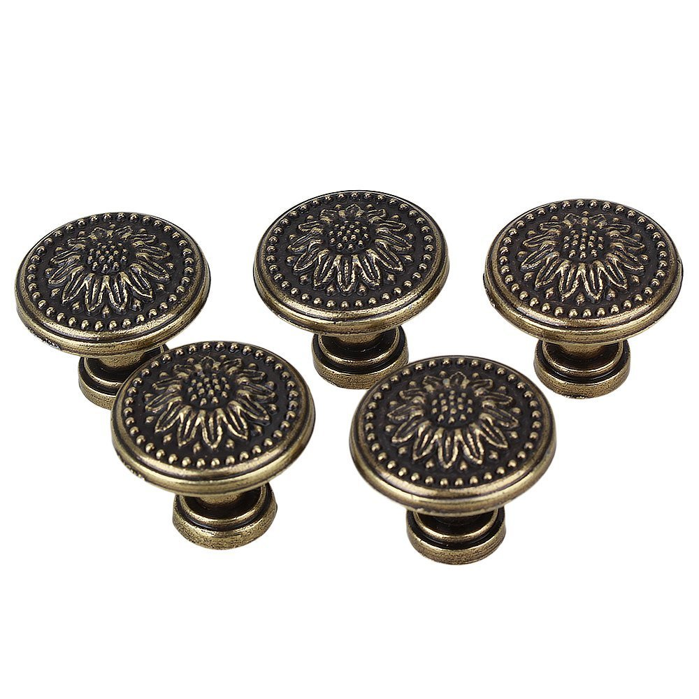 BQLZR 25 x 23mm Antique Bronzy Flower Round Handle Kitchen Cabinet Cupboard Door Drawer Pull Knob Without Screws Pack of 5 N09744