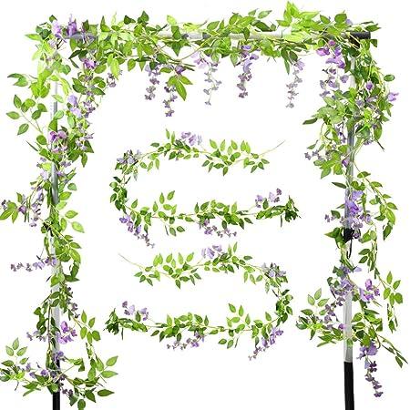 XHXSTORE 2pcs Guirnalda de Flores Artificiales Wisteria Colgantes 2m Enredadera Artificial Glicinia Purpura Falsa Vine para Arco Boda Maceta Interior Exterior Decoracion Valla Fiesta Patio Cocina: Amazon.es: Hogar