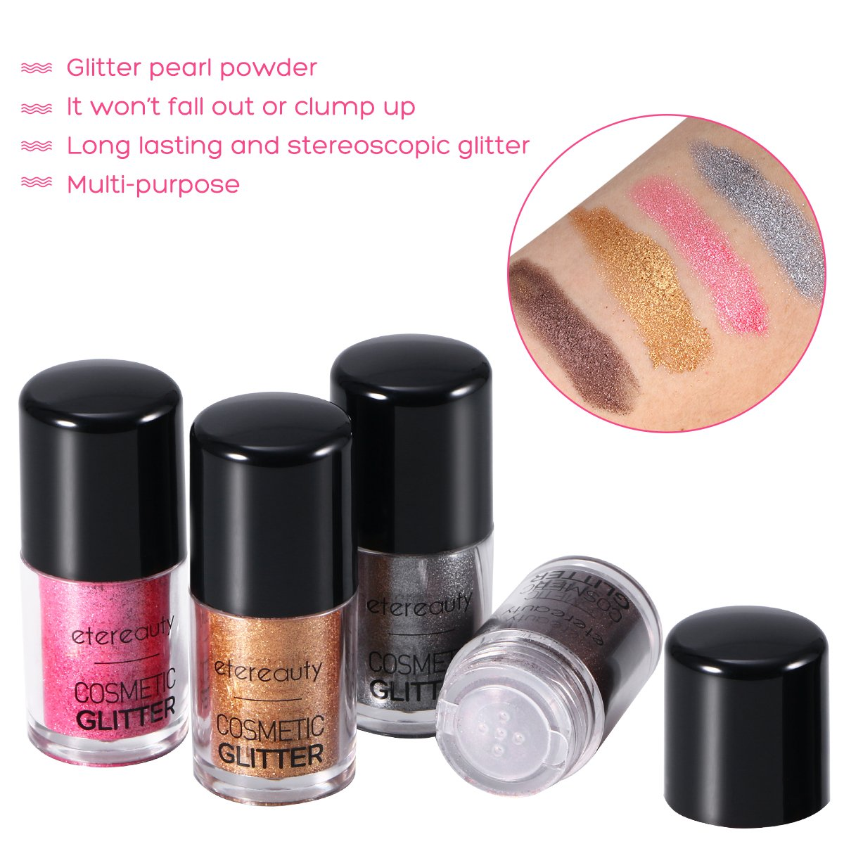 Eye Shadow Powder 4 Colors Glitter Powder Loose with Eye Shadow Brush