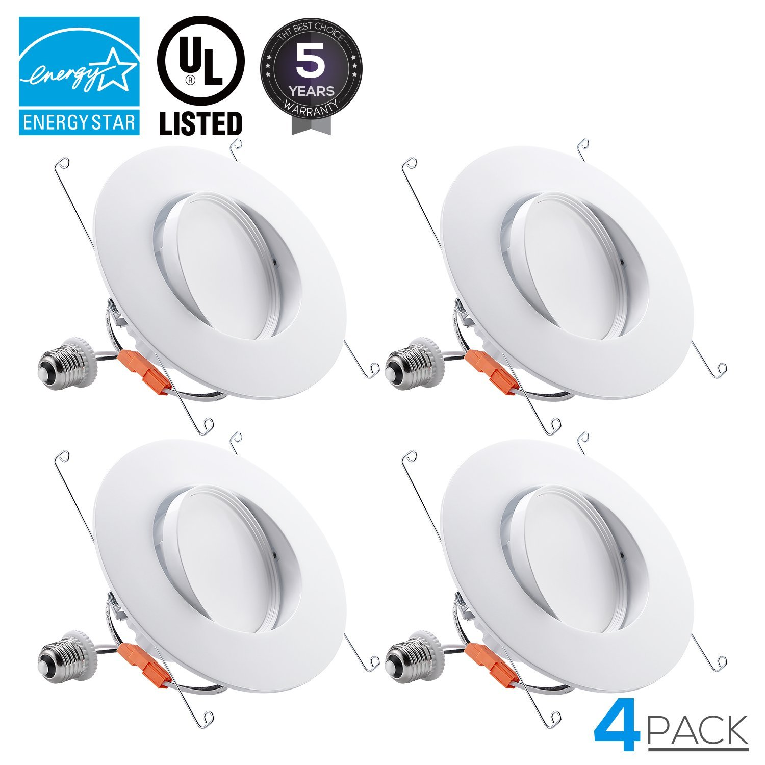 TORCHSTAR 5/6-Inch Retrofit LED Gimbal Downlight, 900lm, 13W (100W Equiv.), UL & ENERGY STAR Certified Dimmable Recessed Light, CRI90+, 5000K Daylight, 5 YEARS WARRANTY, Pack of 4