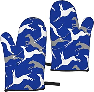 Fonsmay Cooking Gloves,Jumping Greyhounds Blue Oven Mitt Heat Resistant for Frying Cooking Kitchen Christmas