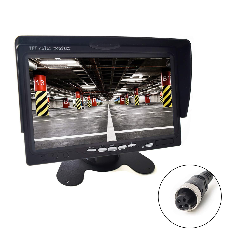 7'' Car Monitor 4-PIN Aviation Plug for Truck Trailer Bus Vans Camper Vehicle 800x480 HD 2 Inputs 12V-24V Sunshade Anti-Glare High Birhgtness by EKYLIN