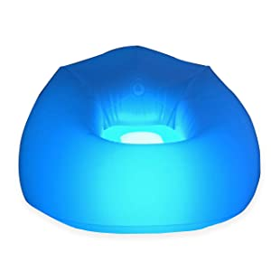 "BloChair Illuminated LED Beanless Inflatable Chair - Measures 40"" x43"" x 30"" - Glowing Chair with LED Light - Bedroom or Dorm Room Furniture/Decoration- Gaming Chair - Collector's Item- Blo Chair Air"