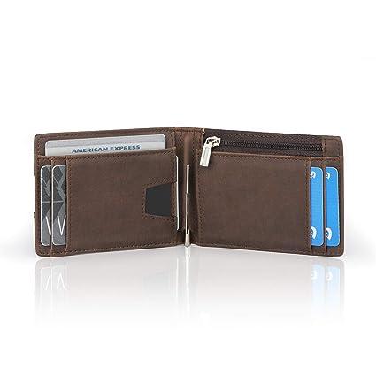 Vemingo Cartera para Hombre con Clip,Monedero con RFID Bloqueo para Tarjetas de Crédito Portamonedas Ligeros para Hombre/Adolescente, Marrón