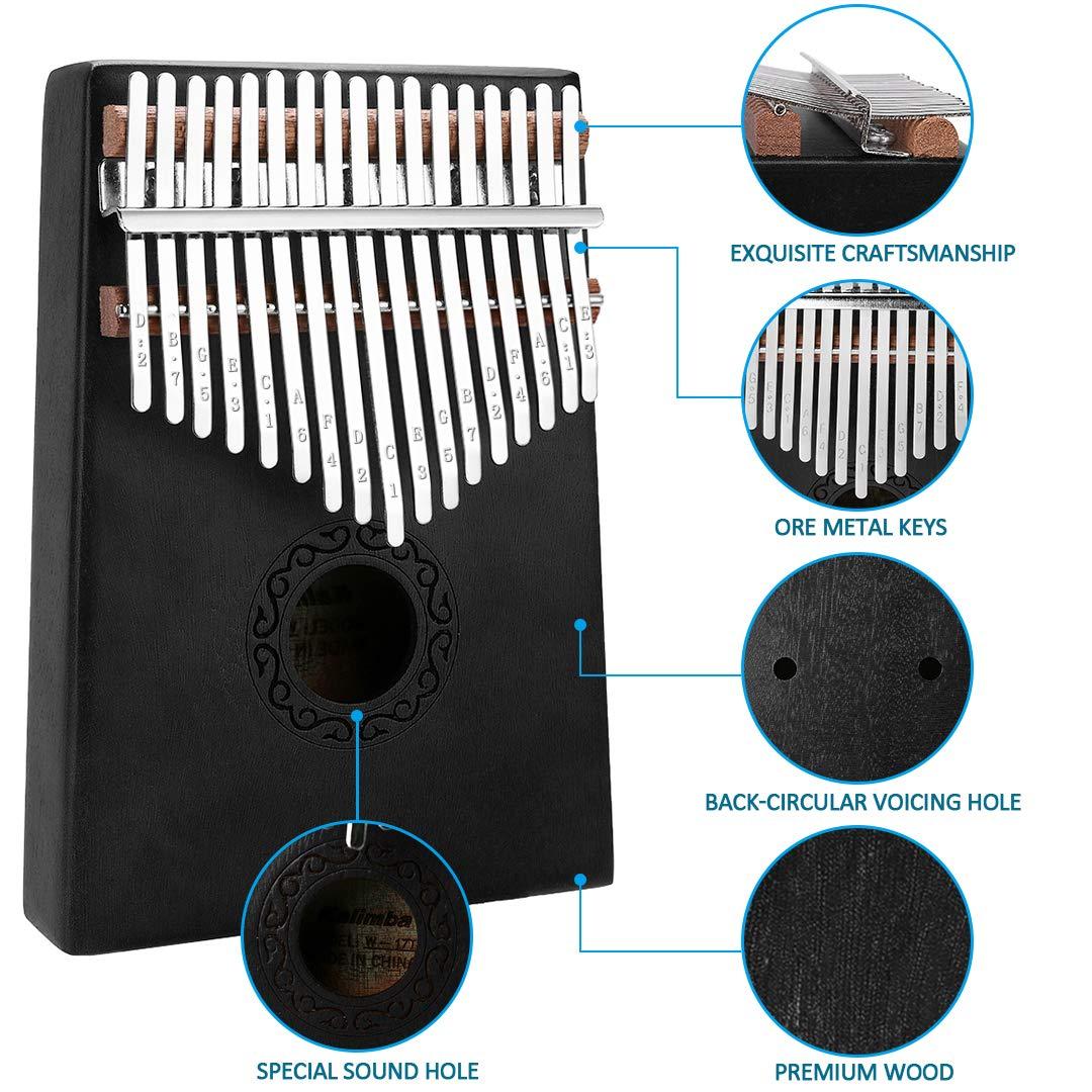 17 Keys Kalimba Thumb Piano, Mini Blue and Black Diy Kalimba 17 Key Thumb Kalimba Musical Instruments Solid Mahogany Wood Body Finger Piano Kalimba with Tune Hammer for Adults Kids Beginners(Black) by Tocawe (Image #4)