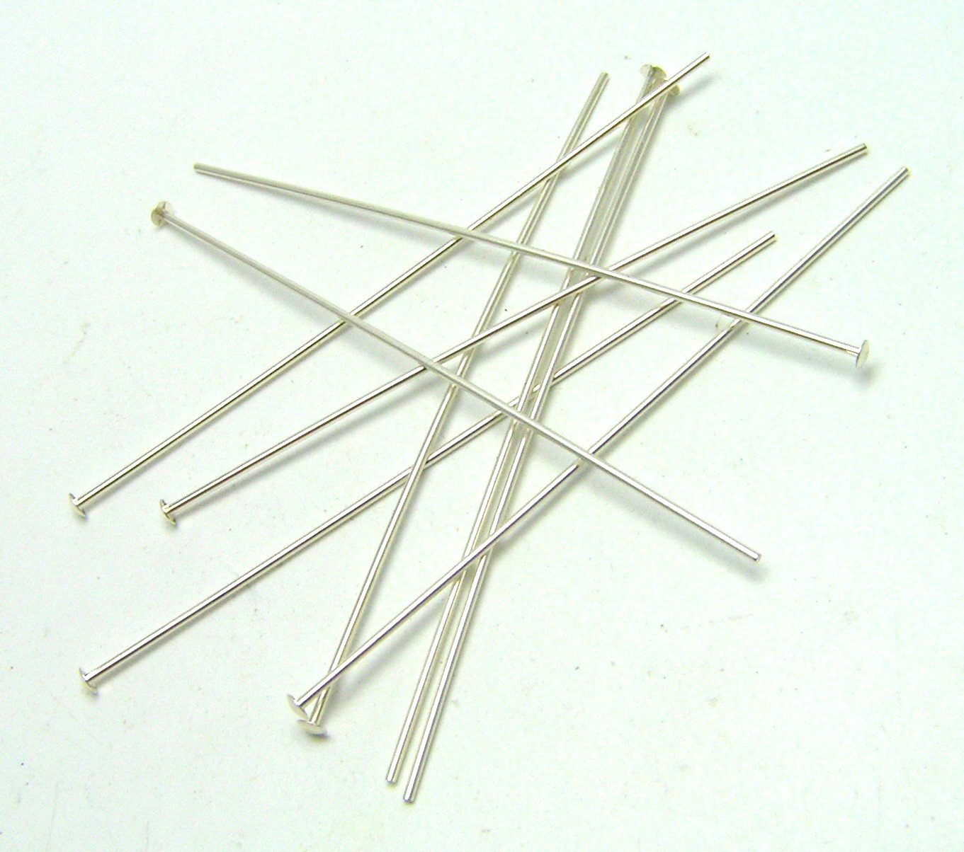 50 ea STERLING SILVER HEAD PINS 22 ga 2'' by LQ Gemworks