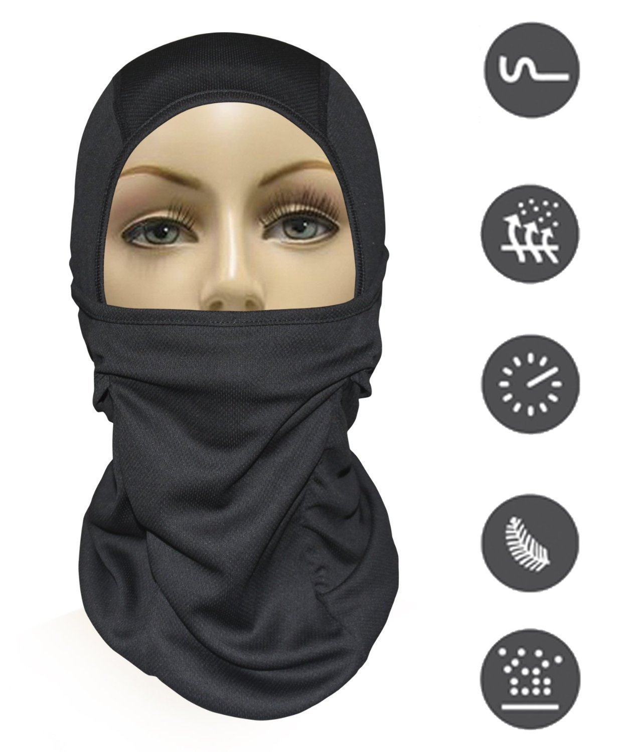 MJ Gear [9 in 1] Full Face Mask Motorcycle Balaclava, Running Mask for Cold or Hot Weather Life Time Warranty (Black)