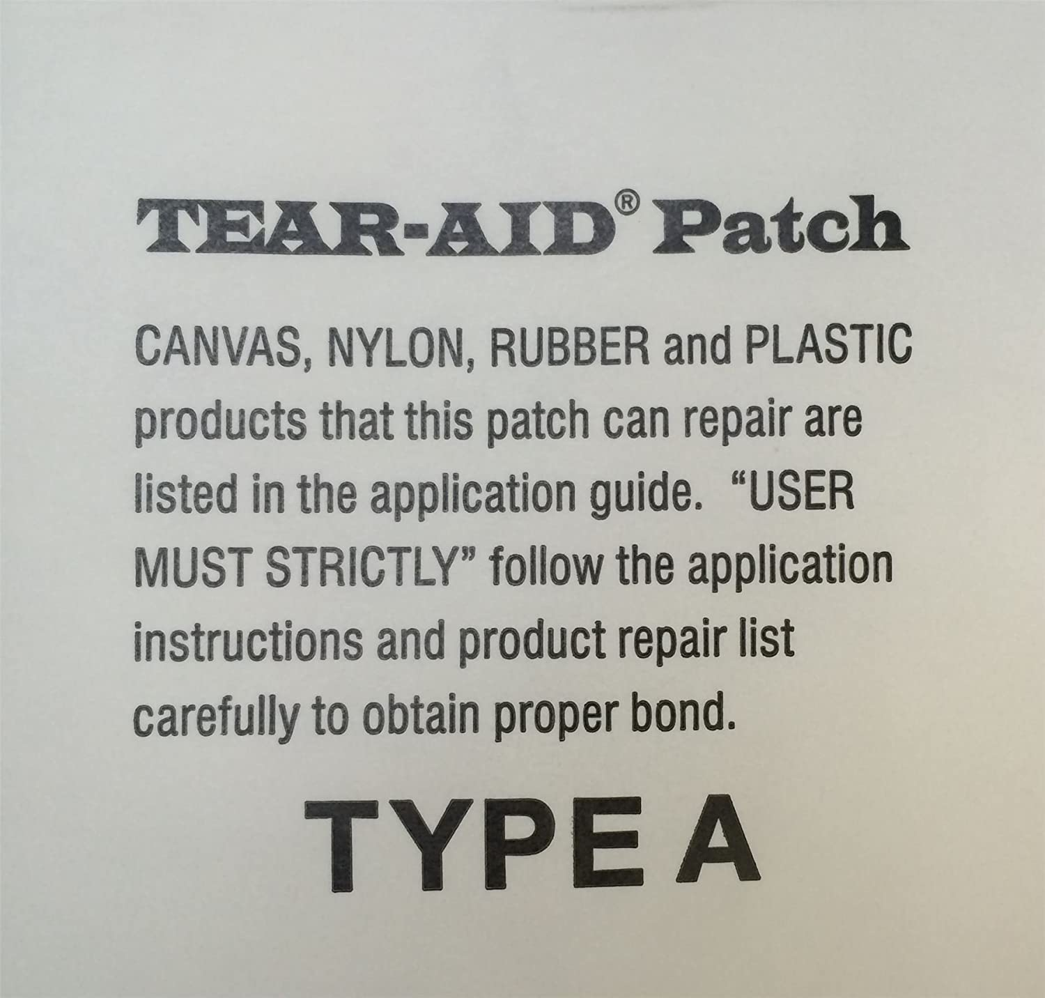 Tear Aid Type A Tent Awning Kite Boat Sailing Fabric Self Adhesive Repair Patch