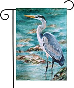 Augenstern Garden Flag Great Blue Heron Watercolor 12 X 18 Inch Winter Yard Flag Double Sided Yard Decorations Holiday Outdoor Flag