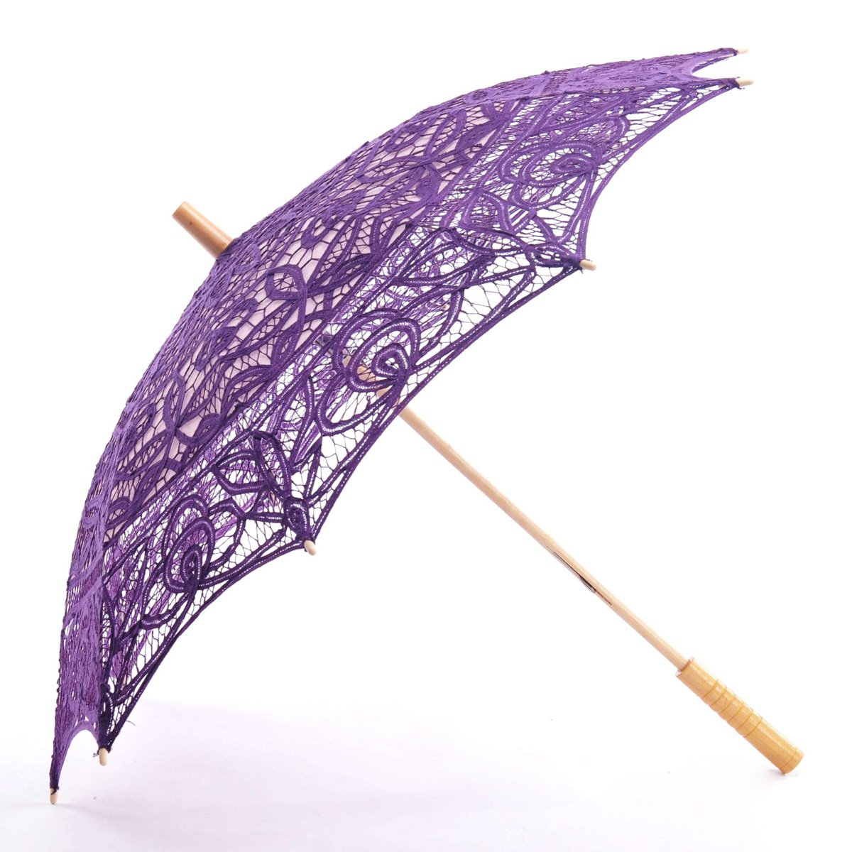Topwedding Battenburg Lace Outdoor Wedding Parasol Bridal Shower Umbrella, Grape