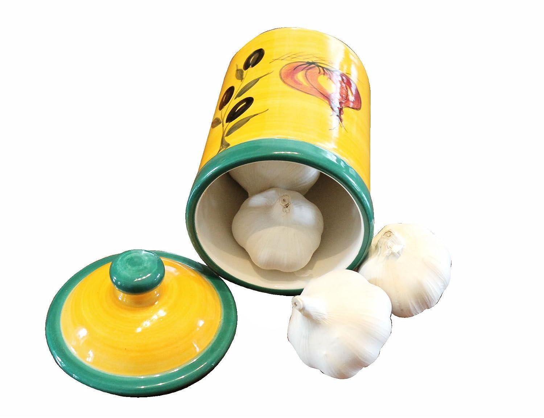 1006 JOSKO Productos Dulces de Orinal con Tapa para el ajo, Cebolla y Chili - de la Mano de Acabado de cerámica de Resistencia, diseño mediterráneo, Altura de 17 cm, diámetro de 9,5 cm