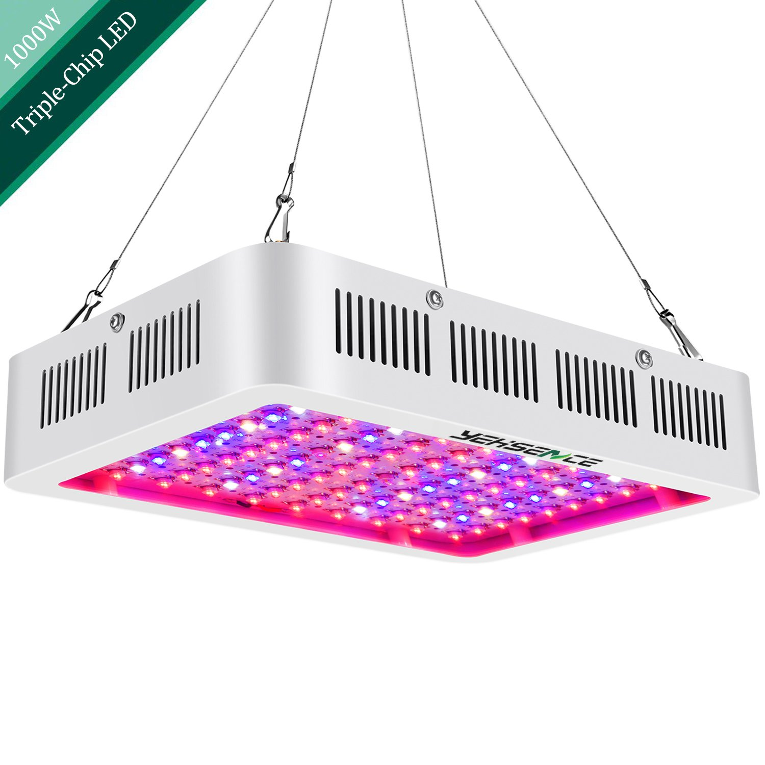 1000W LED Grow Light Full Spectrum,Yehsence (15W LED) 3 Chips LED Growing Light Fixtures with UV&IR for Indoor Plants Veg and Flower/Replace HPS Grow Light Fixture