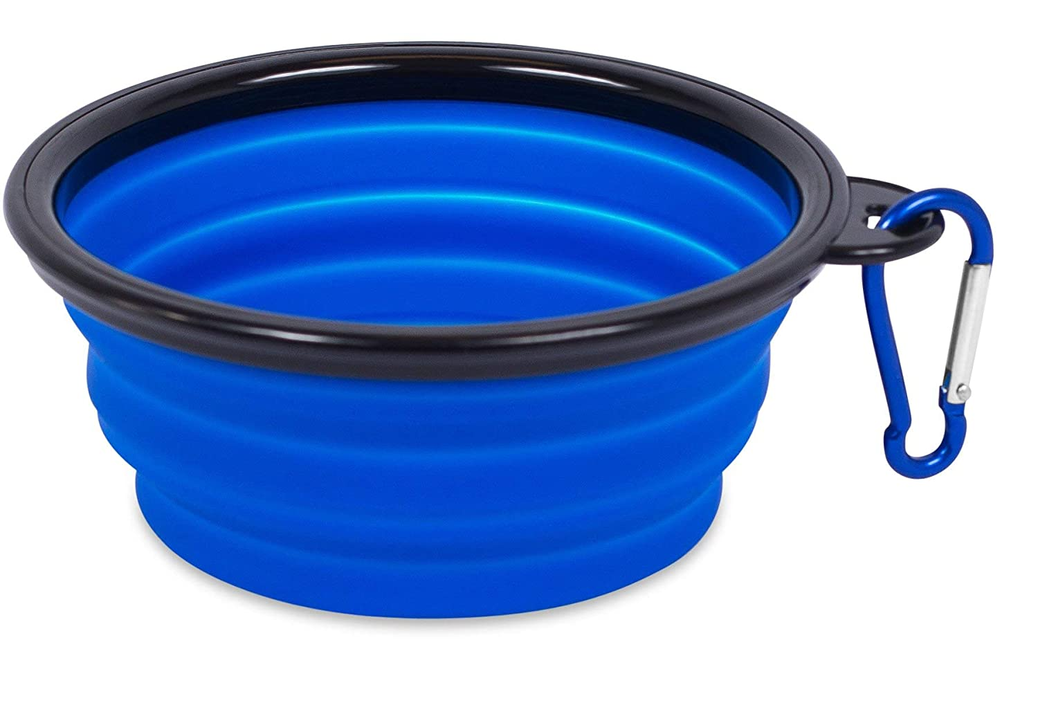 bluee Internet's Best Collapsible Travel Dog Bowl   Portable and Foldable Silicone Bowl with Carabiner   Puppy Cat Food Water Bowl   bluee