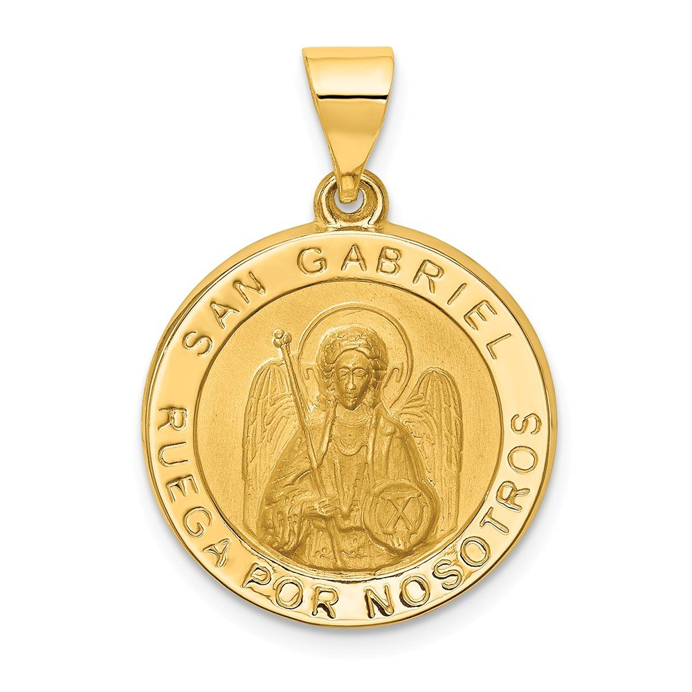 Gabriel Medal Pendant Mia Diamonds 14k Yellow Gold Polished and Satin Hollow Spanish St
