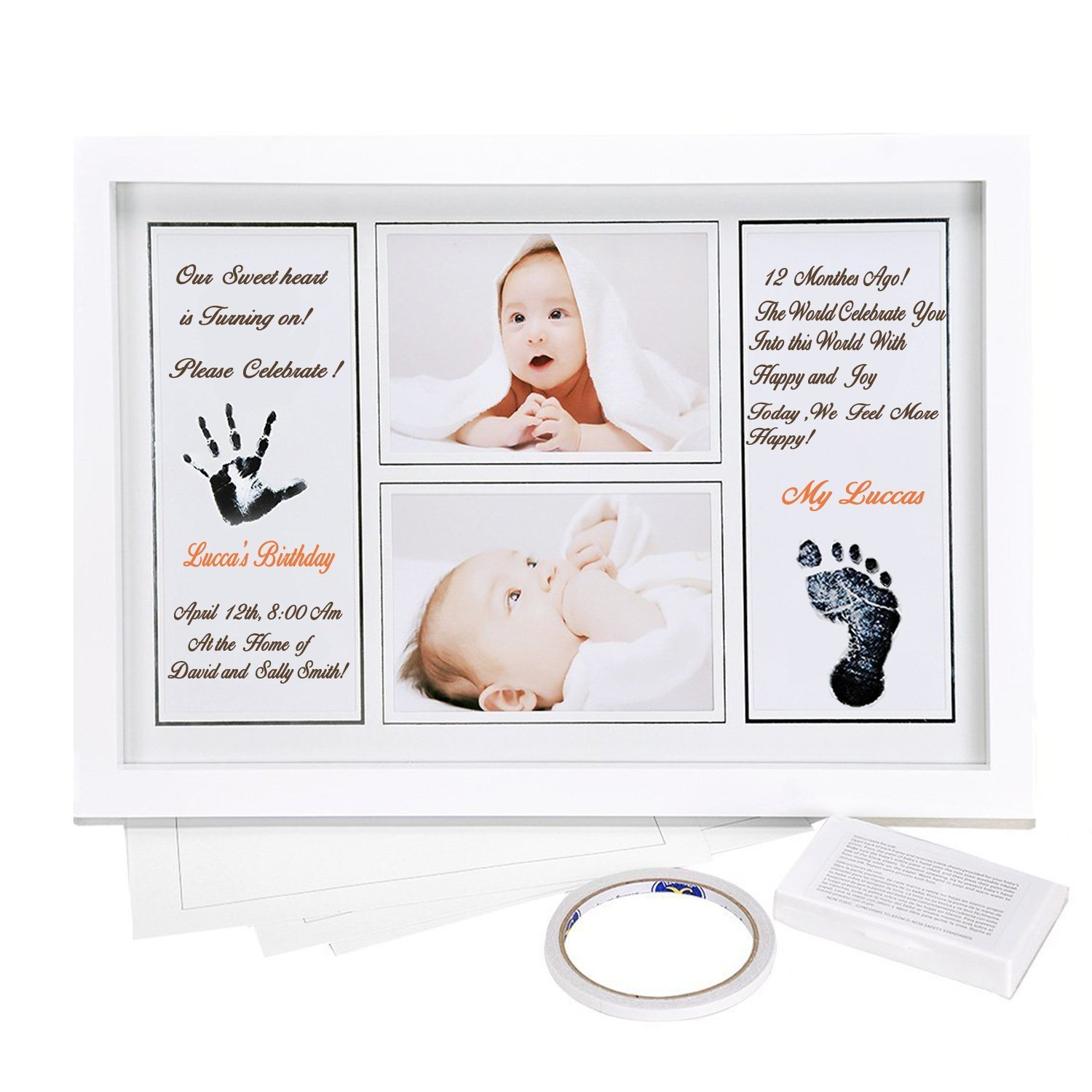 Ilyever Large 17 Newborn Baby Sonogram Handprint& Footprint Photo Frame Kit with Ink Pad for Boy and Girl-A Perfect Baby Shower Gift for Baby Registry, Memorable Keepsake for Room Wall or Table Décor