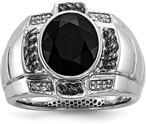 Beautiful Sterling silver 925 sterling Sterling Silver Rhod Plated Diamond /& Onyx Mens Ring