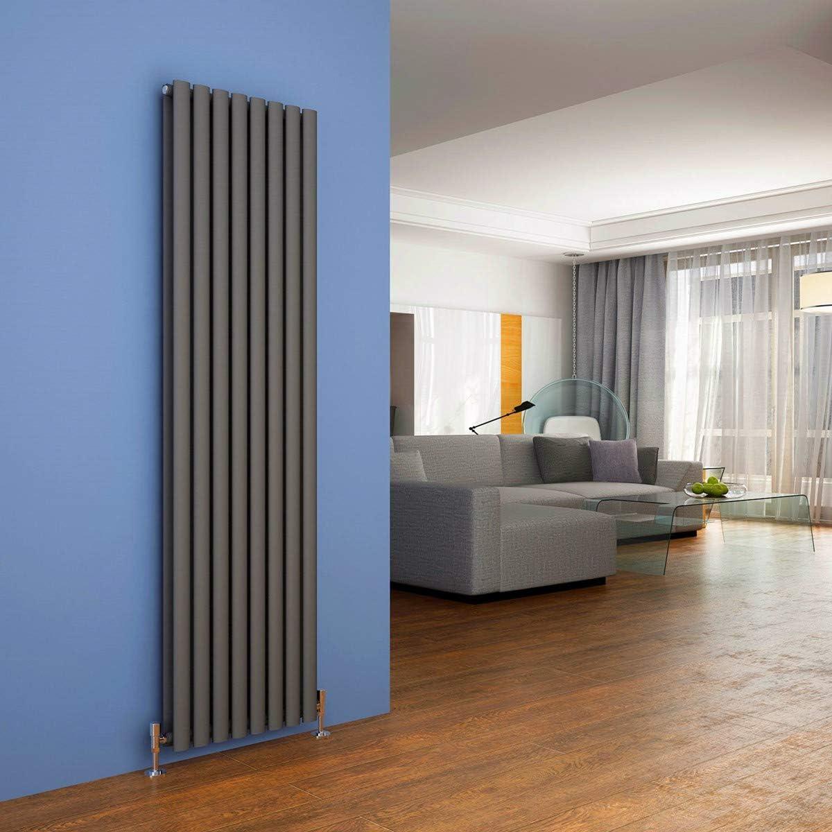 ELEGANT 1800 x 480 Anthracite Vertical Radiator Double Modern Oval Column Radiator Central Heating Radiators Designer Radiators