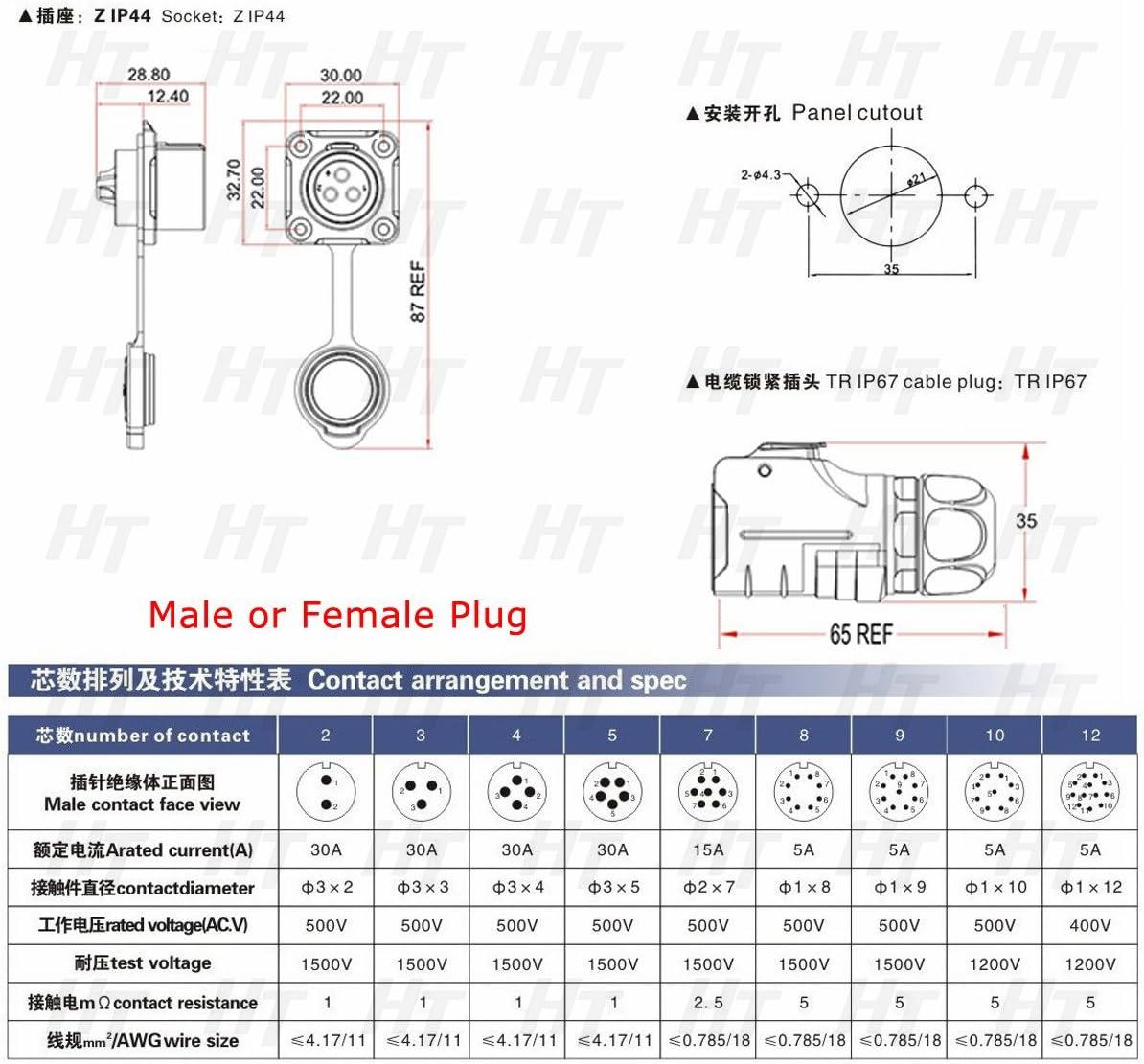 HangTon LP20 9 Pin Power Connector Male Cable Plug Female Panel Mount Socket Waterproof Moisture-Resistant Connector