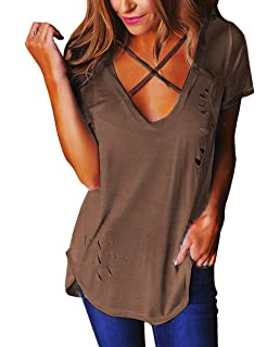 46cbb4ccfc UGET Women's Short Sleeve V Neck Cross Front Distressed T Shirt ...
