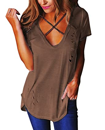 47e1f7f7d0 Relipop Women s Fashion Cross Front Deep V Neck Sexy Blouse Tops Shirts  (Small