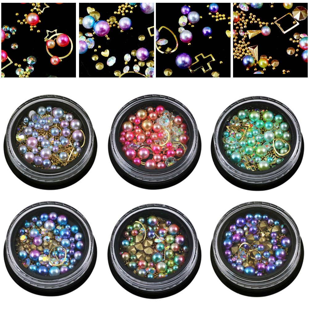 6 Wheels Mixed Nail Art Rhinestones Diamonds Crystals Beads Gems for DIY Decor (03#) Ownsig
