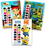 Disney Nick Jr Paint With Water Super Set Kids Toddlers -- 3 Deluxe Paint Books with Brushes (Featuring Minions, Jake and the Neverland Pirates, Teenage Mutant Ninja Turtles)