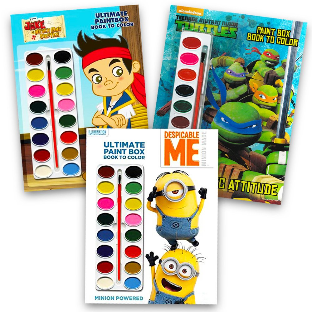 Amazon Disney Nick Jr Paint With Water Super Set Kids Toddlers 3 Deluxe Books Brushes Featuring Minions Jake And The Neverland Pirates