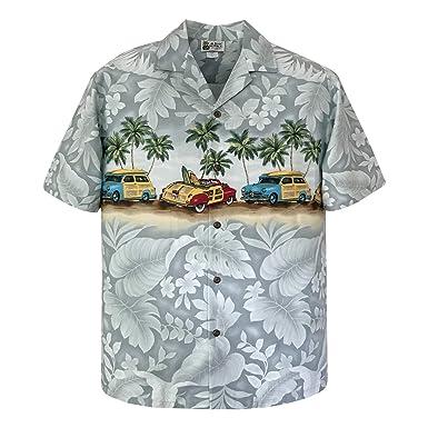 f909f2c67 Amazon.com: Aloha Republic Panoramic Woody Cars Beach Hawaiian Shirt:  Clothing