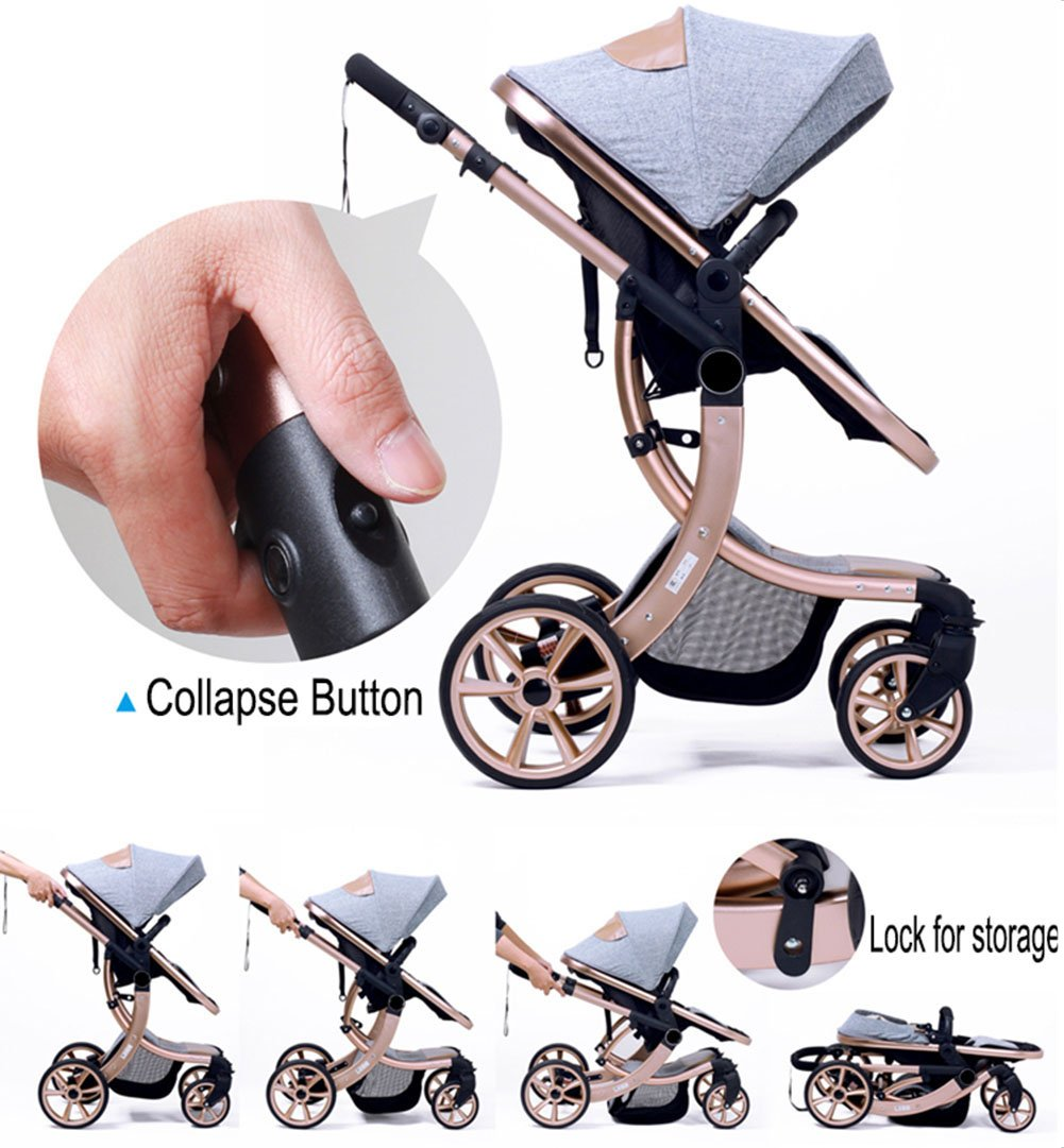AIMILE Newborn Baby Pram Infant Foldable Anti-shock High View Jogger Stroller Multi-Positon Reclining Seat Stroller Pushchair(Grey) by OLizee (Image #8)